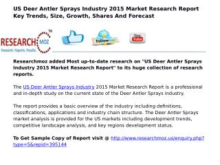 US Deer Antler Sprays Industry 2015 Market Research Report
