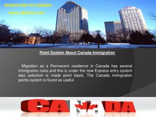Point System About Canada Immigration