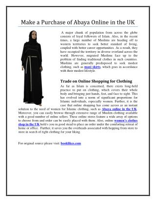 Make a Purchase of Abaya Online in the UK