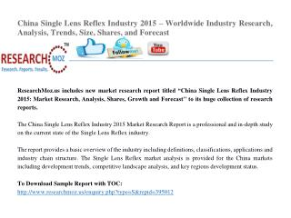 China Single Lens Reflex Industry 2015 Market Research Report