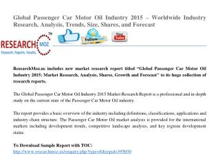 Global Passenger Car Motor Oil Industry 2015 Market Research Report