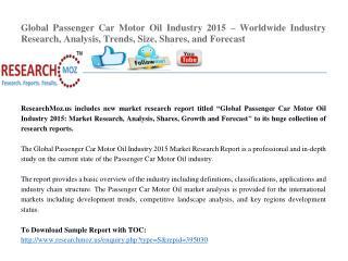 Global Passenger Car Motor Oil Industry 2015 Market Research Report