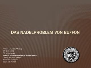 Das Nadelproblem von Buffon