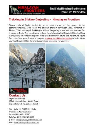 Trekking in Sikkim & Trekking in Darjeeling - Himalayan Frontiers