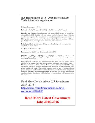 ILS Recruitment 2015- 2016 Ils.res.in Lab Technician Jobs Application