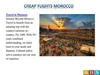 Cheap Flights Morocco – Travel to Africa