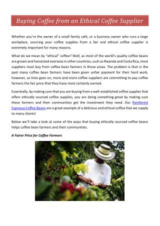 Buying Coffee from an Ethical Coffee Supplier