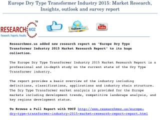 Europe Dry Type Transformer Industry 2015 Market Research Report