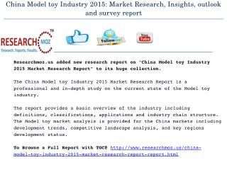 China Model toy Industry 2015 Market Research Report