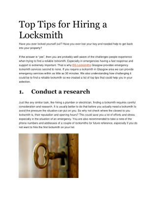 Top Tips for Hiring a Locksmith