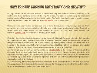 How to Keep Cookies both Tasty and Healthy?