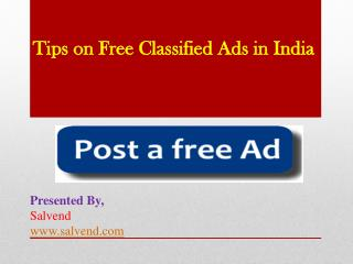 Tips on Free Classified Ads In India
