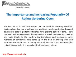 The Importance and Increasing Popularity Of Reflow Soldering Oven