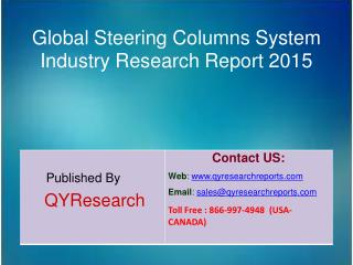 Global Steering Columns System Industry 2015 Market Development, Research, Forecasts, Growth, Insights, Study and Overvi