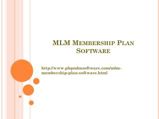 MLM Membership Plan Software