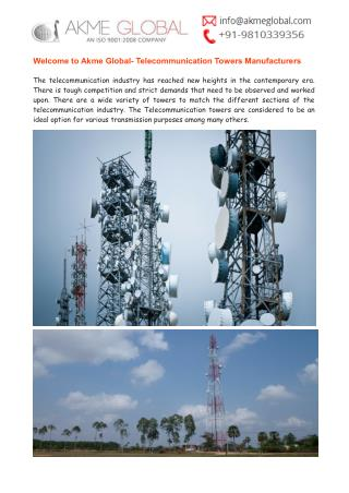 Telecommunication Towers Manufacturers India- Akme Global