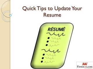 Quick Tips to Update Your Resume