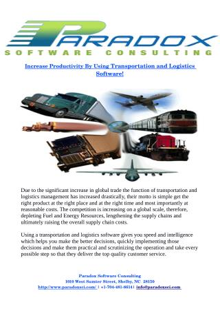 Increase Productivity By Using Transportation and Logistics Software!