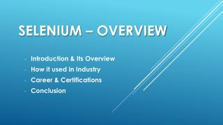 Selenium Overview by EraEdge
