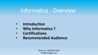 Informatica Overview & its introduction