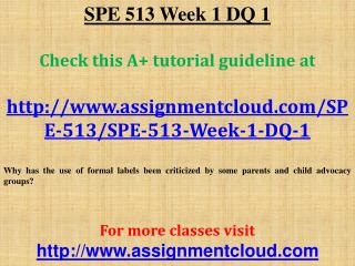 SPE 513 Week 1 DQ 1