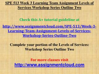 SPE 513 Week 3 Learning Team Assignment Levels of