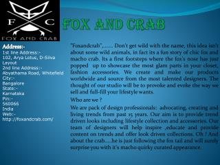 Welcome to Fox and Crab Online Jewelry Store