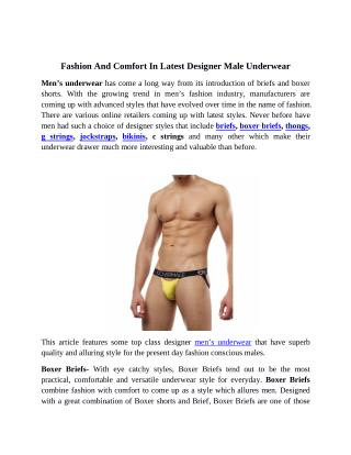 Fashion and Comfort in Latest Designer Male Underwear
