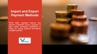 Import and Export Payment Methods