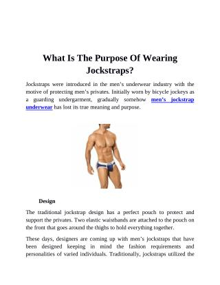 What Is The purpose Of wearing Jockstraps?