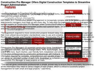 Construction Pro Manager Offers Digital Construction Templates to Streamline Project Administration