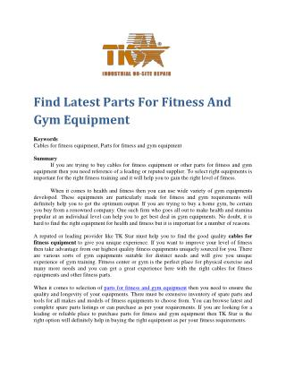 Find Latest Parts For Fitness And Gym Equipment