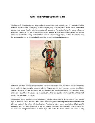 Kurti � The Perfect Outfit For Girl�s