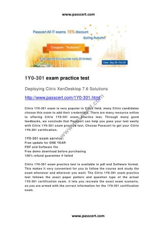 Citrix 1Y0-301 practice test