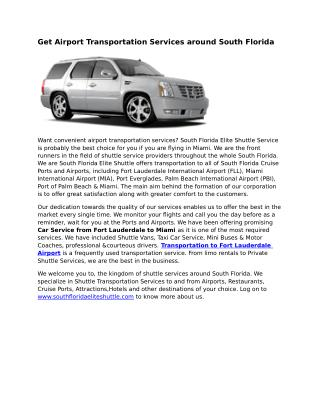 Fort Lauderdale Airport Transportation Services
