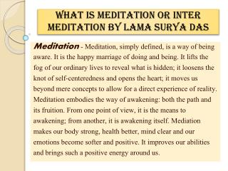 What is Meditation or Inter Meditation By Lama Surya Das