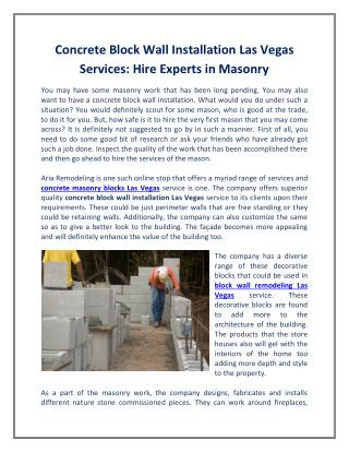 Concrete Block Wall Installation Las Vegas Services: Hire Experts in Masonry
