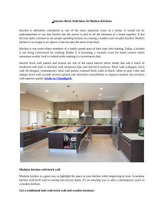 Interior Brick Wall Ideas In Modern Kitchens