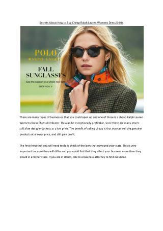 Secrets About How to Buy Cheap Ralph Lauren Womens Dress Shirts