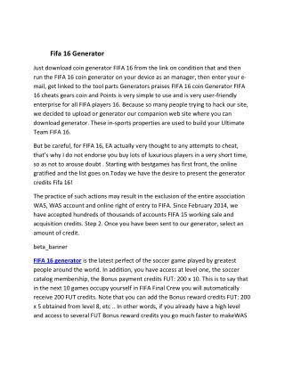 Fifa 16 Generator
