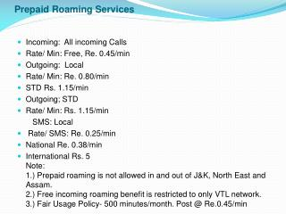 Prepaid Roaming Services