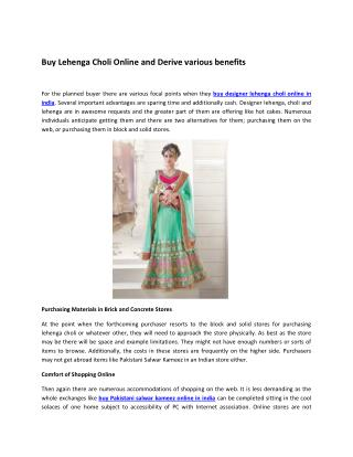 Buy Lehenga Choli Online and Derive various benefits