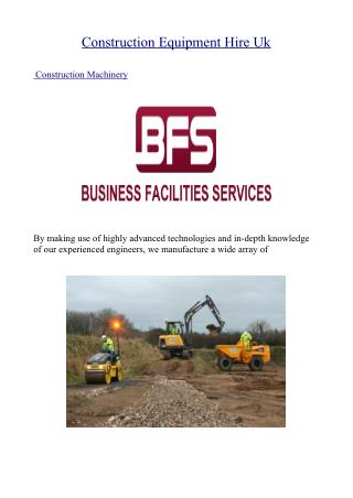 Construction Equipment Hire Uk