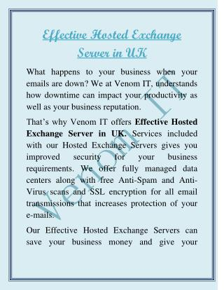 Effective  Hosted Exchange Server in UK