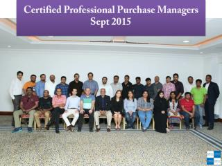 Certified Professional Purchase Managers Sept 2015