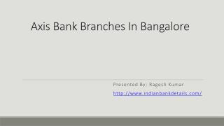 Axis Bank Branches In Bangalore