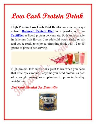 Low Carb Protein Drink