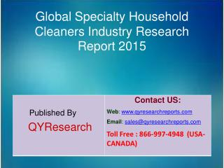 Global Specialty Household Cleaners Industry 2015 Market Development, Research, Forecasts, Growth, Insights, Study and O