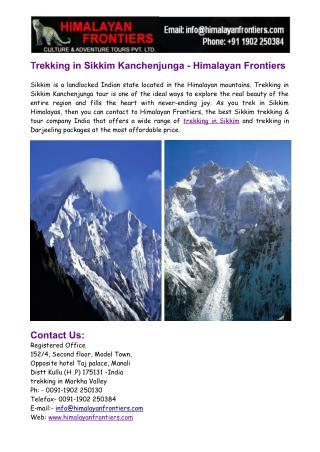 Trekking in Sikkim Kanchenjunga- Darjeeling