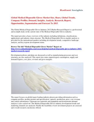 Medical Disposable Gloves Market Share, Development And Growth To 2015